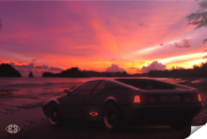 Poster-Retrowave-Bmw-M1-Artist-Adcvision
