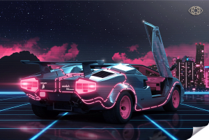 Poster-Retrowave-Lamborghini-Countach-Artist-Adcvision